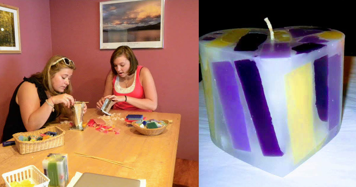 people making candles on left, candle on right