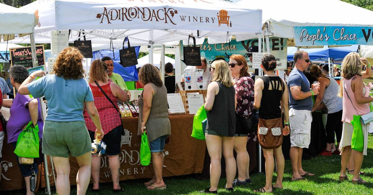 people at Adirondack Winery vendor booth