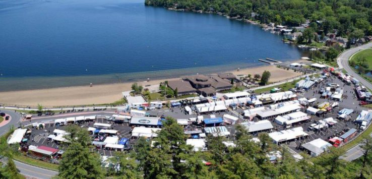 aerial view of Americade Expo and Lake George