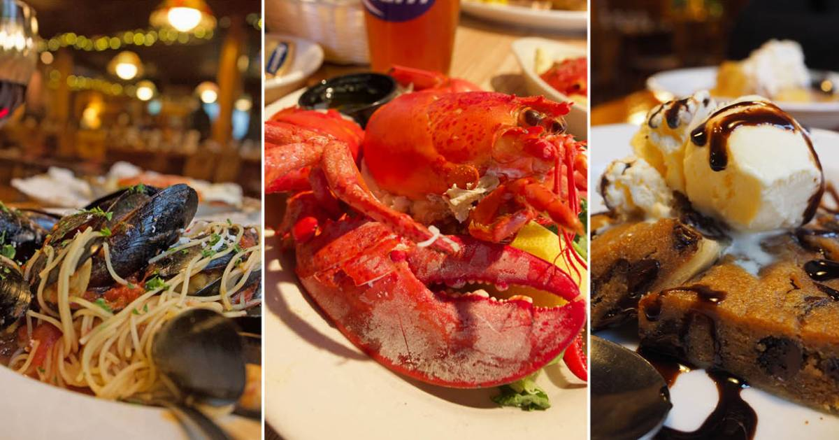 image split in three of muscles meal, lobster, and a dessert