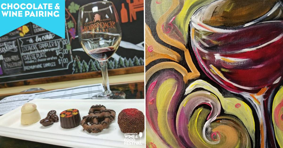 split image with wine and chocolates on the left and painting on the right