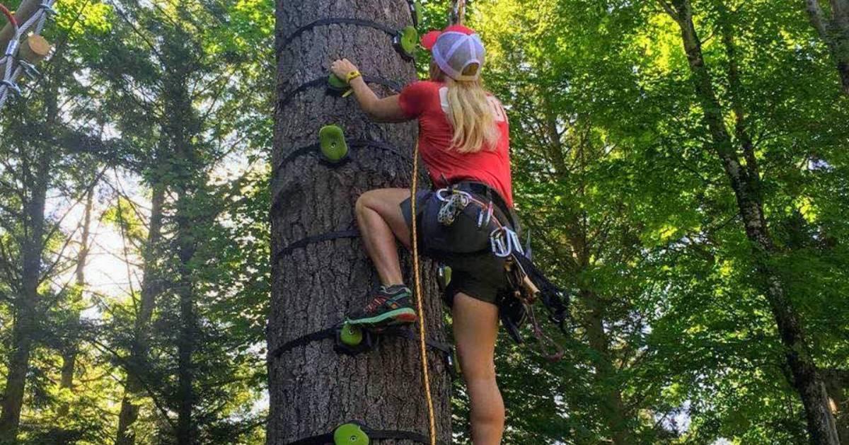 woman climbing tree