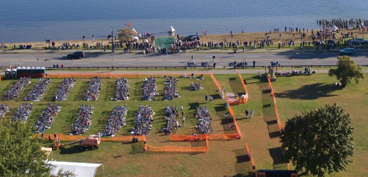 aerial view of Lake George Triathlon Festival