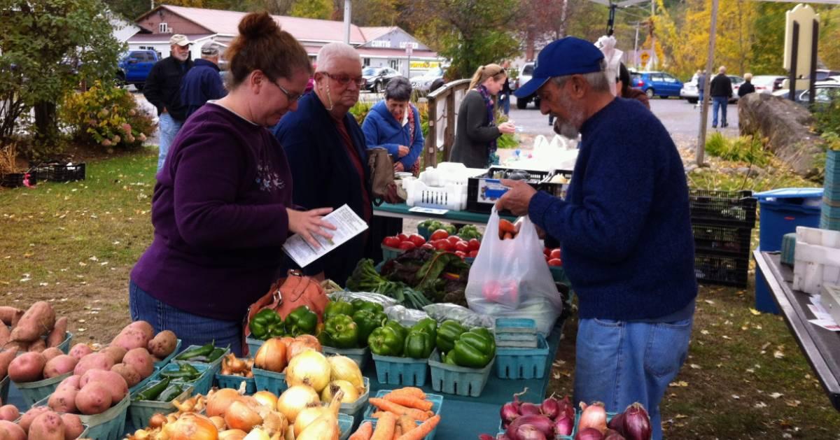 people at farmers market vegetable vendor