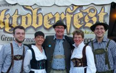 people in costume at adirondack brewery oktoberfest