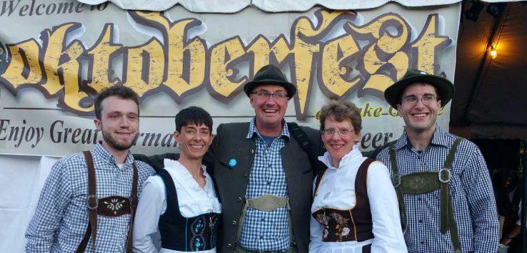 people in costume at adirondack brewery oktoberfest