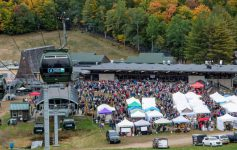 gondola above crowd at gore mountain harvest fest
