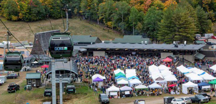gondola above crowd at gore mountain harvest fest