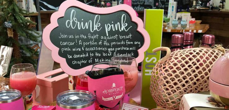 pink merchandise at adirondack winery
