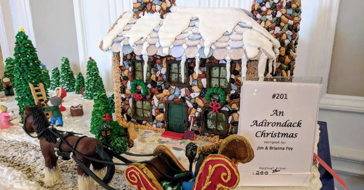 gingerbread house at the north country festival of trees