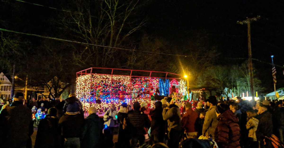 a tractor decorated in lights