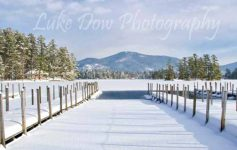 dock leading into the lake in the winter