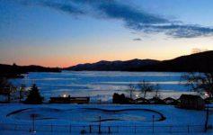Lake George at night in winter