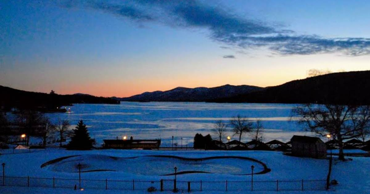 Lake George at night in winter