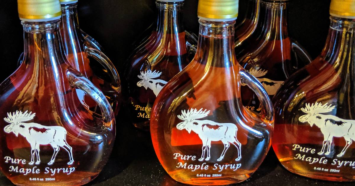 maple syrup bottles with moose