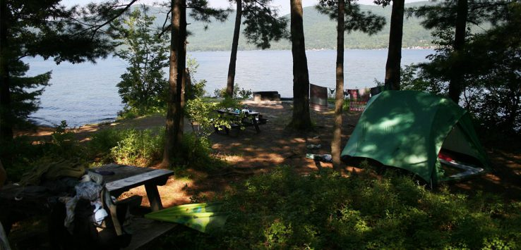 island campsite on lake george