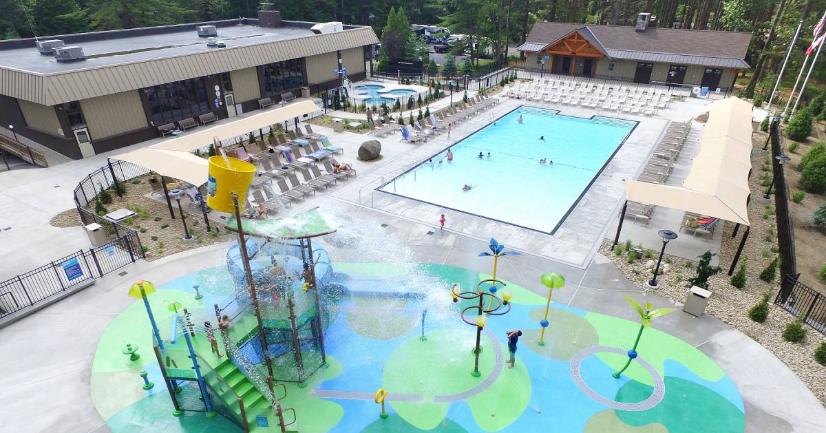 aerial view of Lake George Escape's water park and pool