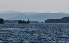 islands on a lake at dusk