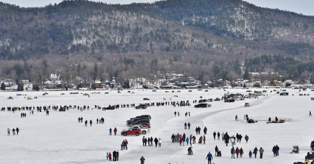 aerial view of a carnival on a frozen lake