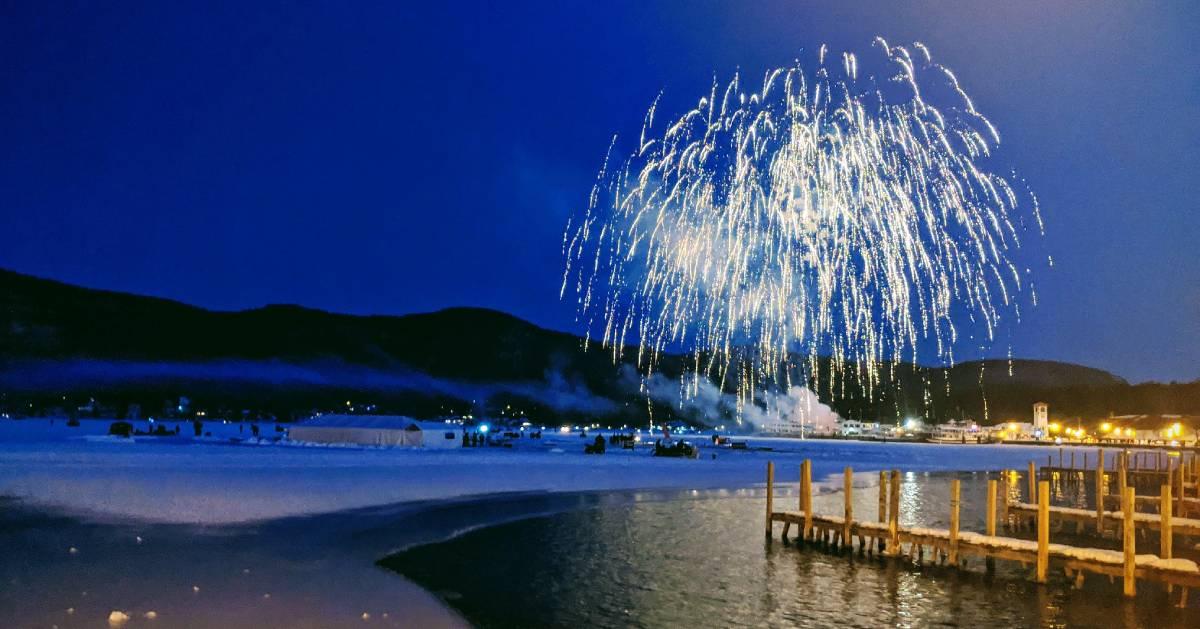 fireworks in winter