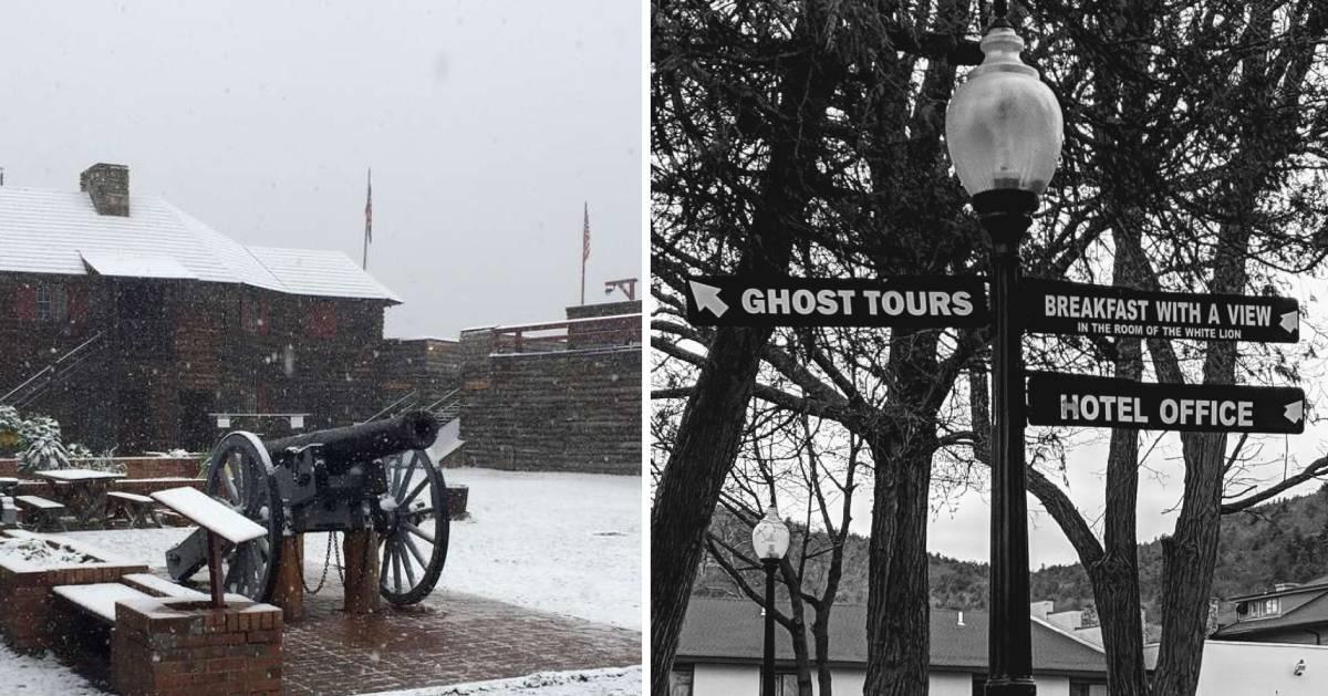 split image with cannon in the snow on the left and trees on a sign on the right including for ghost tours
