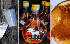 image split in three of maple bucket, maple syrup, and syrup on pancake
