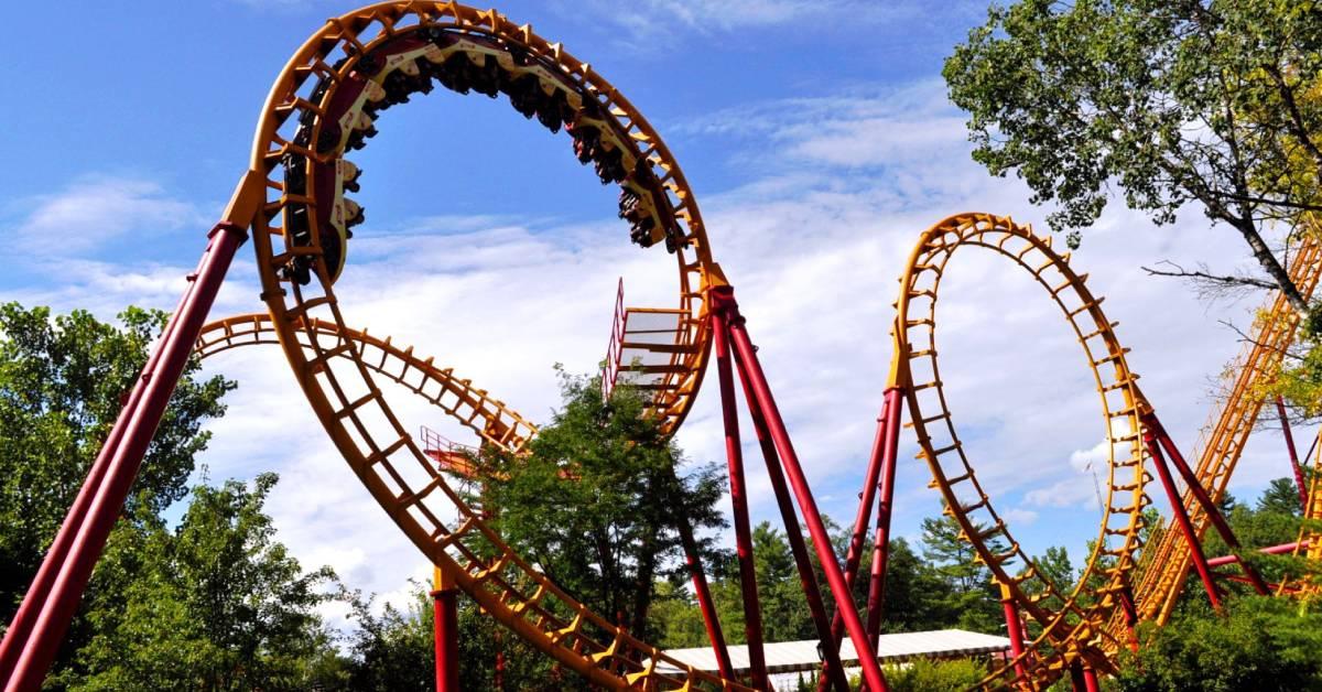 red and orange roller coaster
