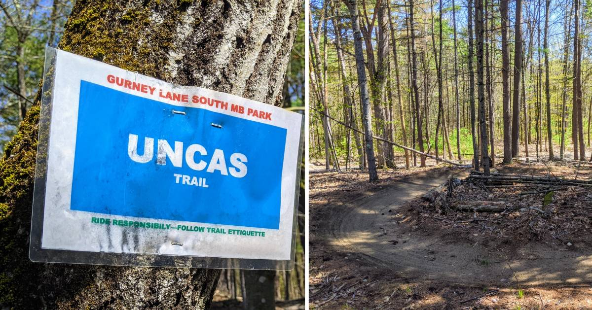 split image with mountain biking sign on the left and mountain biking trail on the right