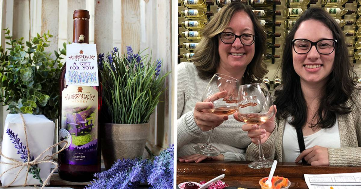 split image with lavender wine on the left and a mom and daughter at a wine tasting on the right