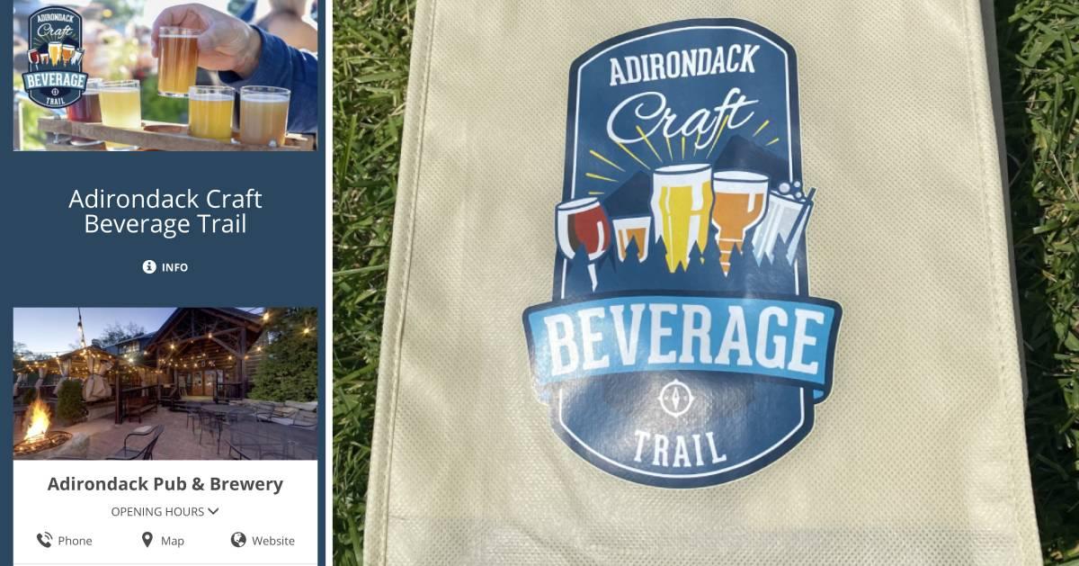 split image with craft beverage phone screenshot on left and craft beverage bag on right
