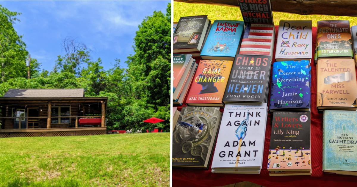 book cabin on left, book display on right