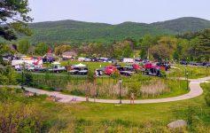 quasi aerial view of truck show