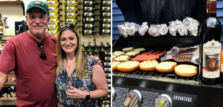split image of dad and daughter at wine testing on the left and food on a grill with a wine bottle on the right
