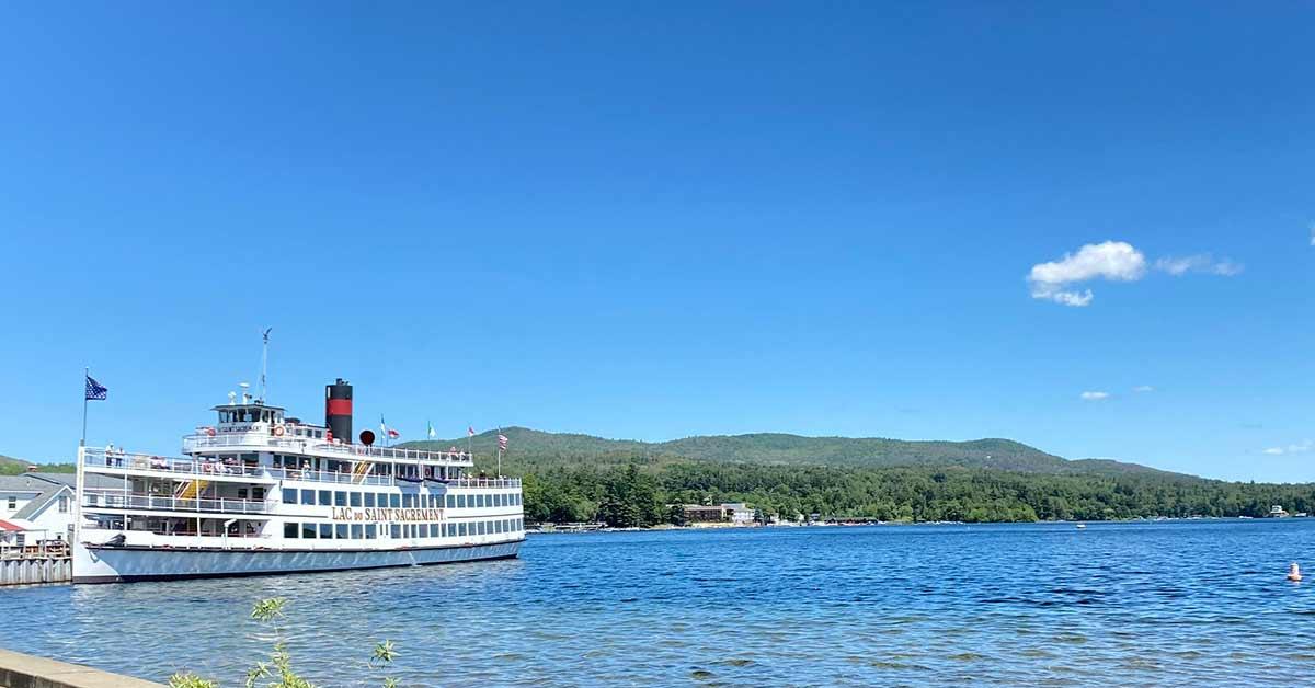lake george steamboat blue sky