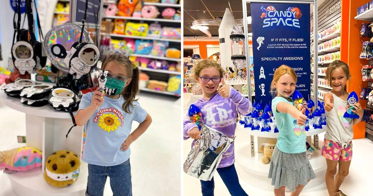 split image of kids in a candy store