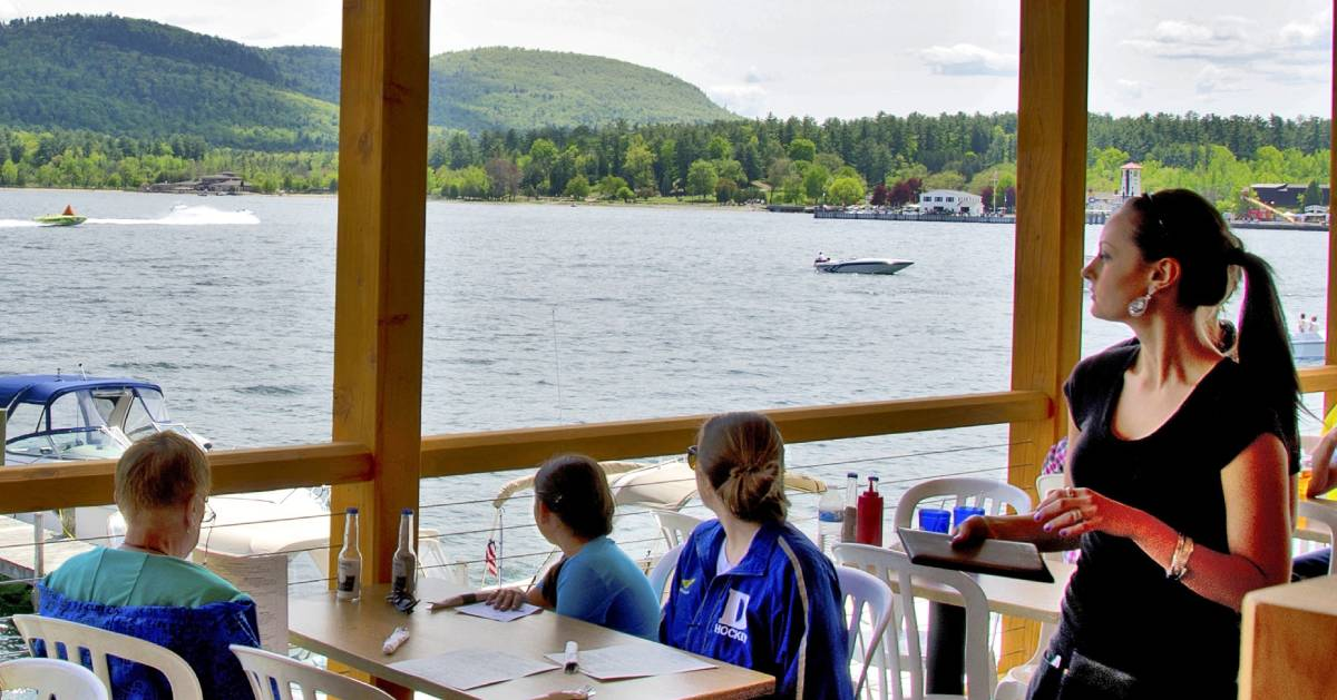 waterfront dining on deck