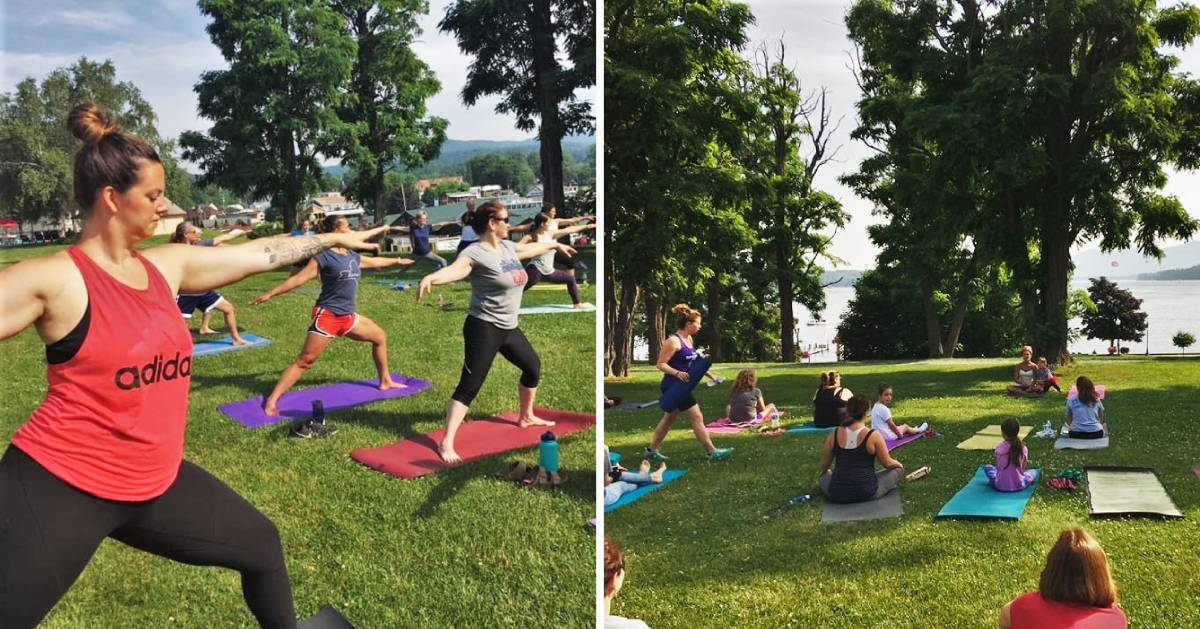 split image, both photos of yoga on Fort William Henry lawn