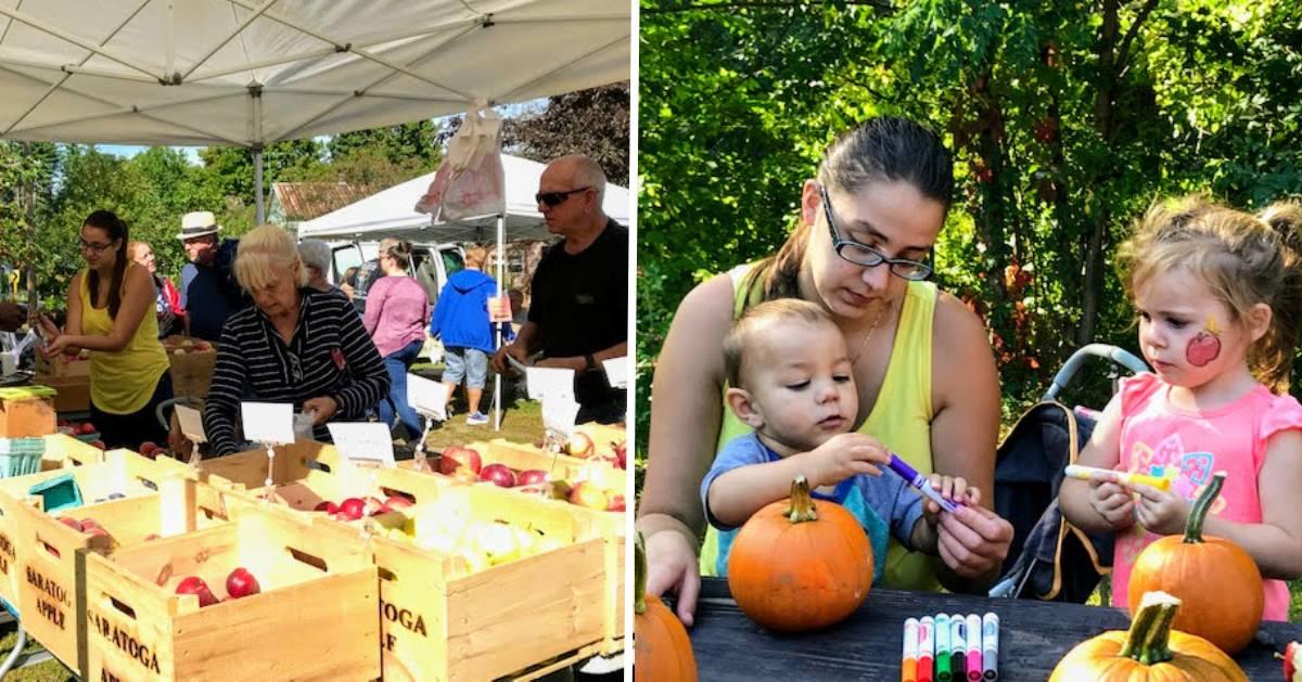 split image of two apple festival photos