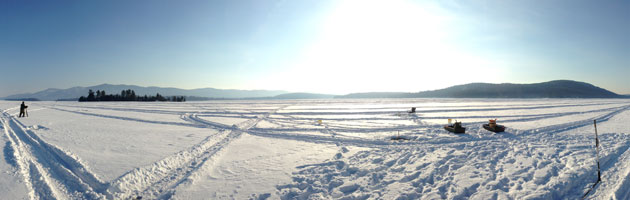 frozen, snowy Lake George