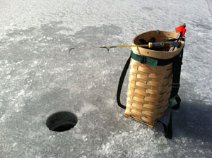 Pack Basket and Jigging Rod on Lake George